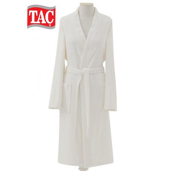 TAC Womens / Mens bathrobe in white, 100% cotton